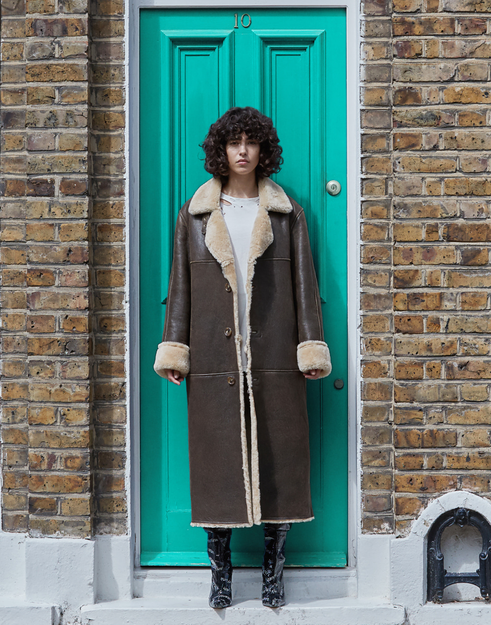 Oversize Mouton Coat (Brown)